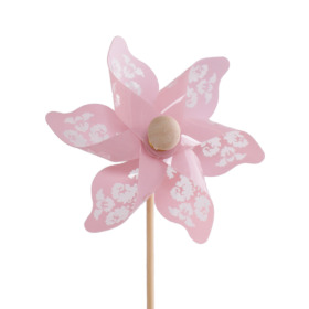 Windmill Jazz 9cm on 50cm stick pink