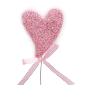 Heart Hugs & Kisses 5.5cm on 10cm stick pink