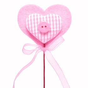 Heart Button 7cm on 50cm stick pink