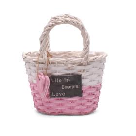 Handbag Beautiful Life 19x11H13 pink/white