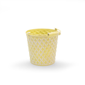 Zinc Bucket Diamond 4 in washed yellow