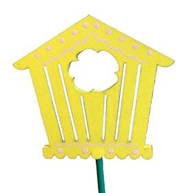 Birdhouse Bloomy 7.5cm on 50cm stick yellow