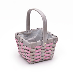 Basket Stripes handle 17x17cm pink