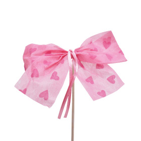 Bow Send Love 10cm on 50cm stick pink