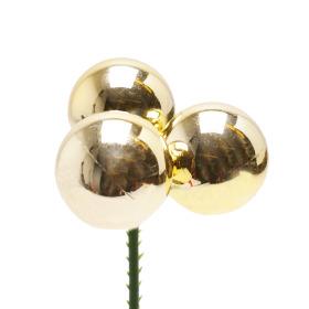 Kerstballen Shiny Trio 3cm op 10cm stok goud