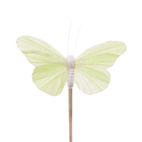 Butterfly Rosy 10.5cm on 50cm stick pastel green