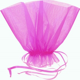 ORGANZA BQT ROSET HOLDER 20x12 IN FUCHSIA