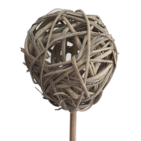 Rattan Ball 5cm on 8cm stick natural (grey)