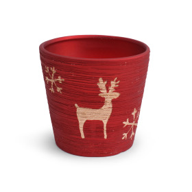 Ceramic Pot Caribou 6in red