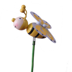 Bee Happy 3 in on 20 in stick yellow