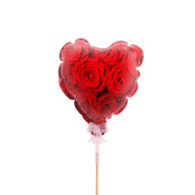 Balloon Rose Heart 12.5cm on 50cm stick red