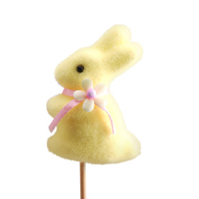 Bunny With Bow 2.75in on 20in stick yellow