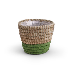 Pot basket Moroccan Ø14.5 H12.5cm green