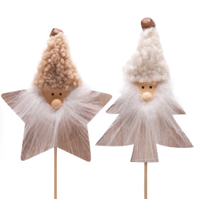 Christmas Wizard 9cm on 10cm stick assorti