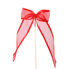 Ribbon Organza Stripe 10cm on 50cm stick red