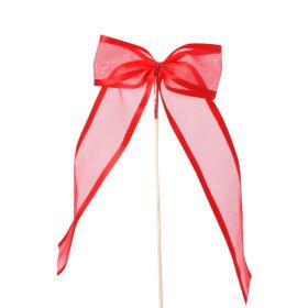 Strik Organza Stripe 10cm op 50cm stok rood