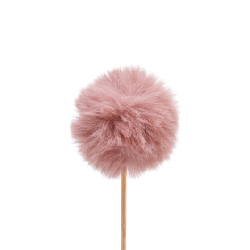Fluffy ball 6cm on 50cm stick old pink