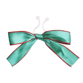 Satin bow Carol 10cm with clip green