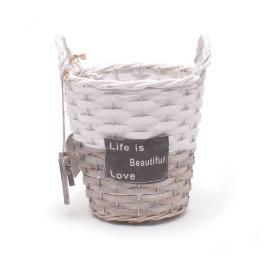 Pot/basket Beautiful Life 16.5cm grey/white