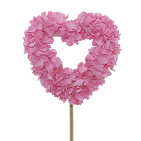 Heart Rose Petals 7,5cm on 50cm stick pink