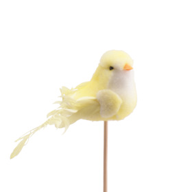 Bird Bibi 10cm on 50cm stick yellow