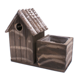 Wooden bird house 21x10 H9.5cm gray