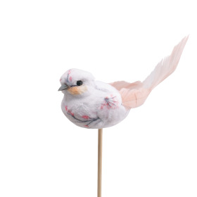 Bird Florence 10cm on 50cm stick pink