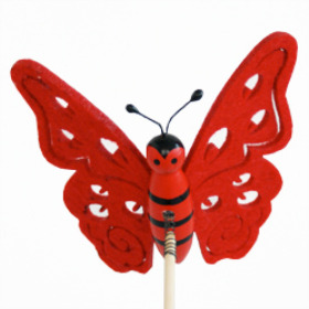 Butterfly Felt 7cm on 15cm stick red