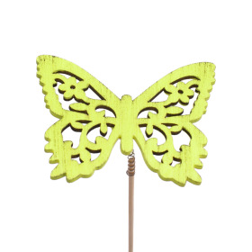 Butterfly Anna 7.5cm on 50cm stick green