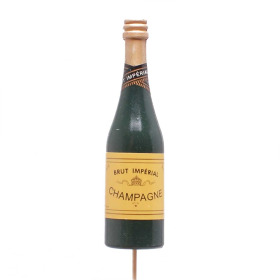 Champagne Bottle 11cm on 10cm stick green