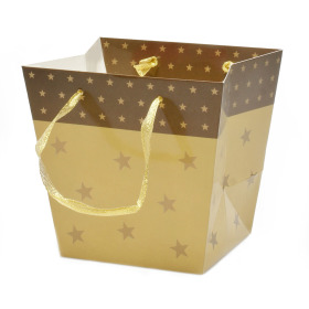 Carrybag Stars Glossy 15/13x11/10x14cm brass