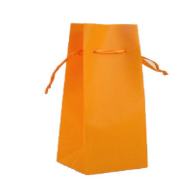 Vase bag  8x8x24.5cm with ribbon orange
