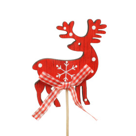 Reindeer Wood 7x8cm on 10cm stick red