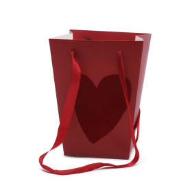 Carrybag Velvet Love 15/15x11/11x20cm red