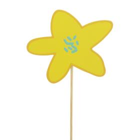 Flower Party 8x9cm on 50cm stick yellow