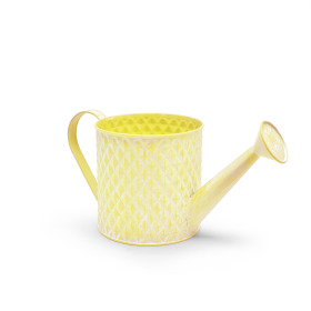 Zinc Watering can Diamond Ø14.3 H14cm washed yellow
