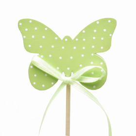 Butterfly Polka Dots 6.5cm on 50cm stick green