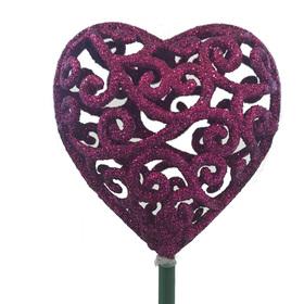 Heart Scroll 7cm on 50cm stick pink