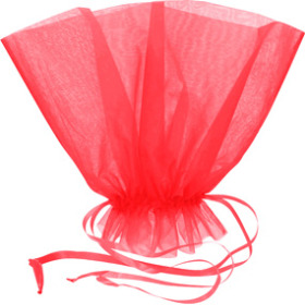 Organza Bqt roset Holder 20x12 in red