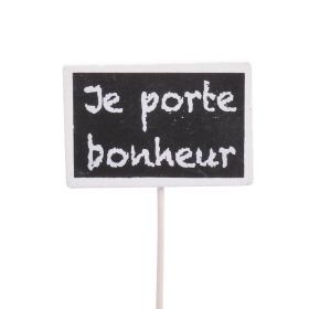 Je porte Bonheur 7.5x5cm on 22cm stick white