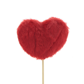 Heart Teddy 3in on 20in stick red