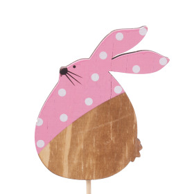 Polka Dot Bunny 9cm on 50cm stick pink