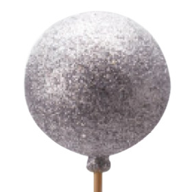 Christmas Ball Glitter 6cm on 50cm stick silver
