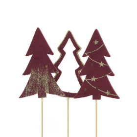 Trees Natalee 10cm on 50cm stick assorted x3 FSC Mix red