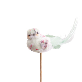 Bird Florence 10cm on 50cm stick green