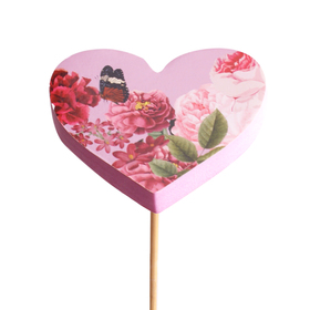 Heart Amora 7cm on 50cm stick pink/red