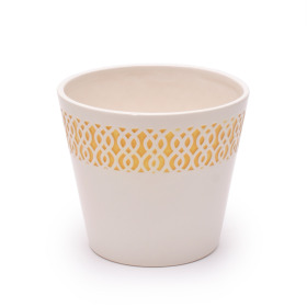 Ceramic Pot Tribal 4 in yellow