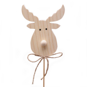 Reindeer Donner 7cm on 50cm stick white