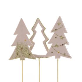 Trees Natalee 10cm on 50cm stick assorted x3 FSC Mix pink