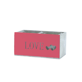 Glas in hout For Love Duo 17x9 H8cm rood